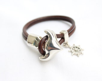 Nautical bracelets for her, gift for women, silver plated Anchor and rudder bracelet