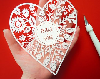 Custom Papercut - Personalized Floral Heart - Original Papercut - Wedding - Valentines Day - Anniversary