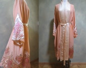 Divine 1920's Apricot Colored Silk Chiffon Robe w Appliqués Outlined in Burnished Metallic Thread - WEDDING