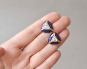 RESERVED Vintage triangle stud earrings 90s gold blue fashion 80s 90s jewelry costume gold