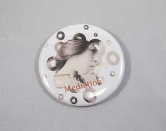 Geisha, Meditation, Pin Back Button, Metal Parts, Mylar, Tecre Parts, Cannon Genuine Ink, Fun Accessories