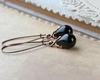 Long Black Earrings, Black Dangle Earrings, Teardrop Earrings, Glass Drop Earrings, Black Jewelry, Classic Earrings, Black Glass Earrings UK