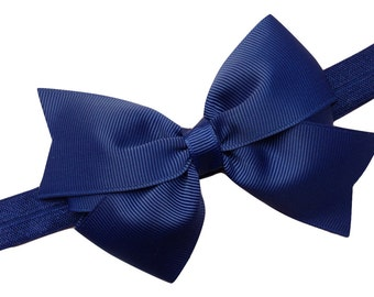Navy blue bow headband - navy blue baby headband, newborn headband, elastic headband, baby bow headband, navy headband, girl headband
