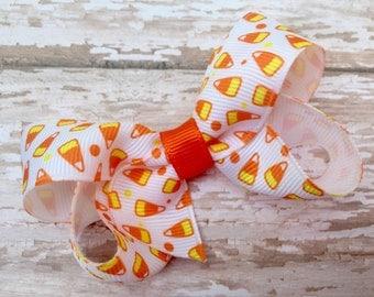 Halloween hair bow - orange bow, candy corn bow