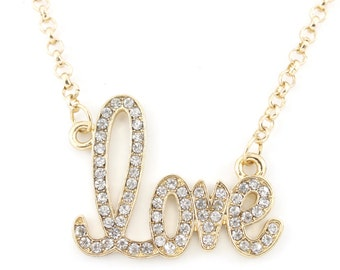 Bright Gold Tone Full White Crystal LOVE Pendant Necklace