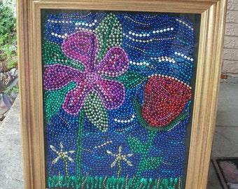 Mosaic Mardi Gras bead art 24H x 20W