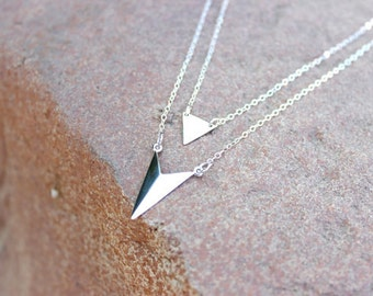 Layering Necklaces Set / Triangle Necklace, Spike  Necklaces ,Minimal Sterling Silver Delicate Necklaces, Gift