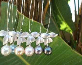 Pearl Earrings, Flower Erarings, Orchid Earrings, Wedding Bridesmaid Bridal Jewelry Bridesmaid Gift,  Drop, Dangle, Statement Christmas GIFT