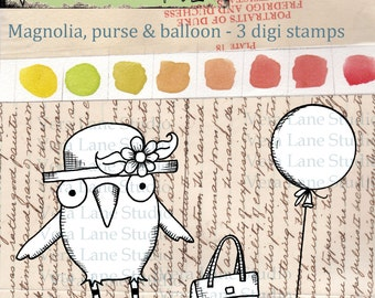 Magnolia - quirky bird digi stamp set - 3 images