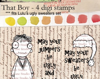 SALE!!!!!  That Boy - whimsical boy character designed to fit into sweaters from Lulus ugly sweater set - 4 digi stamps SALE!!!!!