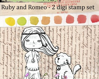 Ruby and Romeo - whimsical hippie girl and her scruffy pup - 2 digi stamps