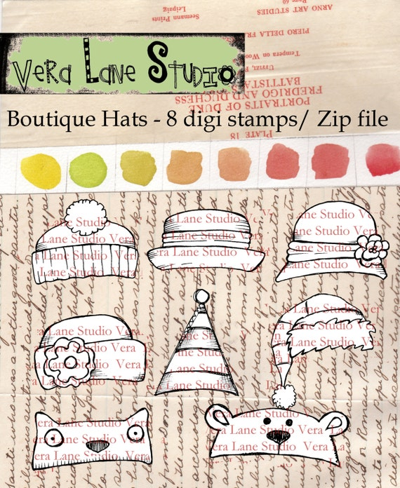 Boutique Hats - quirky and whimsical digi stamp set of eight resizable hat images for instant download