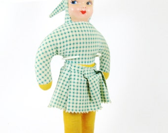 Doll w/ Green Gingham Skirt & Stand - Vintage Mid Century Retro Kitsch Pixie
