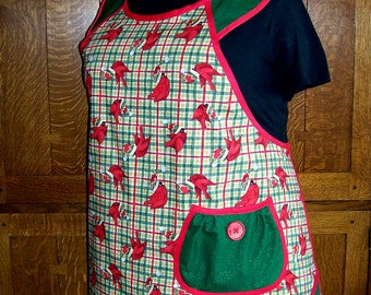 Plus Size Plaid Holiday Apron with Cardinals - Size 2x to 4x