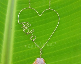 Aloha Side Heart Sunrise Shell 14 K Gold Filled  Necklace