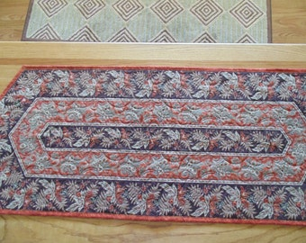 Rust and Brown Paisley Floral Table Runner