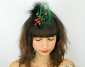 SALE!! 15% off original price - Black, Green and Red Feathered Fascinator - 'Strawberry Poison Frogs'
