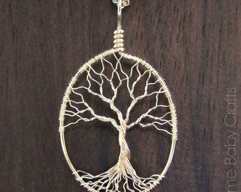 Solid Gold Necklace, Tree of Life Necklace in 14kt Gold, Bare Wire Minimalist Tree Pendant, Recycled Wire, Handmade FINE Jewelry