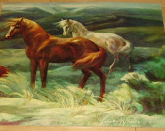"Vintage Art Print - Wild Stallions,  Lithograph on Board, Signed Lumen Winter, 16"" x 20"", Donald Art Company,  New York"