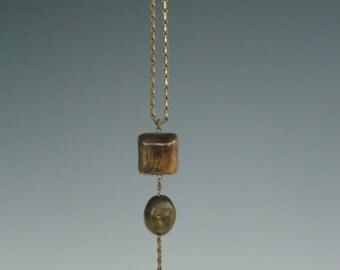 Raku Fired Ceramic Pendant Necklace