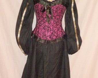 Custom made renaissance chemise ladies Full length Long sleeve with trim