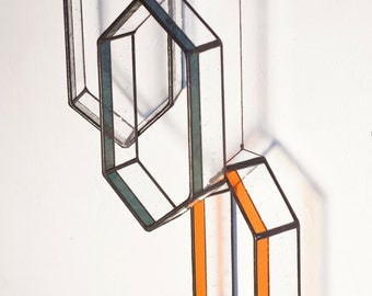 Long HEX Stained Glass Elements (set of 3)