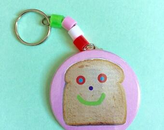 Happy Toast beaded keychain
