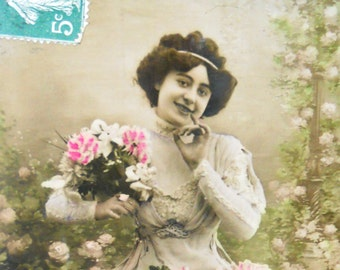 Antique French postcard vintage beauty photograph postcard hand tinted postcard french vintage beauty romantic