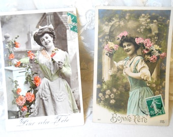 2 Antique French postcards  vintage postcards vintage french french vintage postcards bonne fête