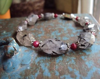Tourmalinated Quartz and Ruby Sterling Silver Bracelet
