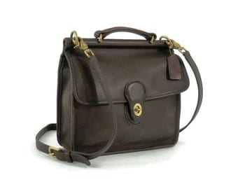 Coach Brown Leather Willis Station Bag with Dowel Rod Large Crossbody Bag