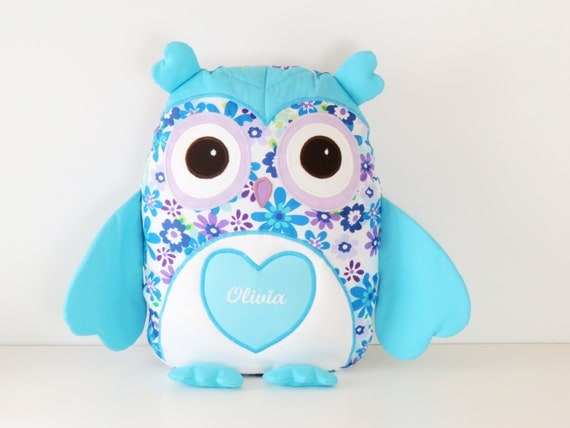 Owl pillow set, Owl Pillow Case, Stuffed Owl, Personalized Owl Pillow, Name Pillow,  Aqua and Purple Owl