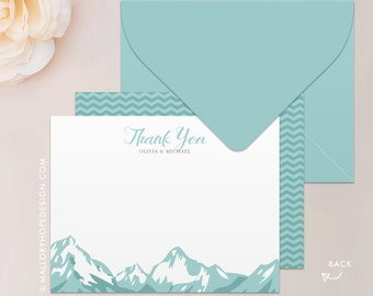 Mountain Range Stationery, Note Card, Thank You Card with Envelope - Customize with Name or Monogram