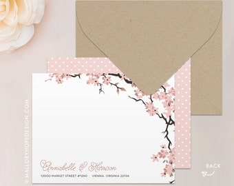 Cherry Blossoms Stationery, Note Card, Thank You Card with Envelope - Customize with Name or Monogram