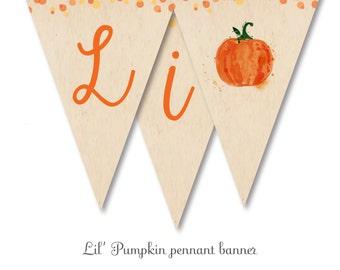 printable pennant banner - lil' pumpkin baby shower - digital dowload printable file - fall baby  shower