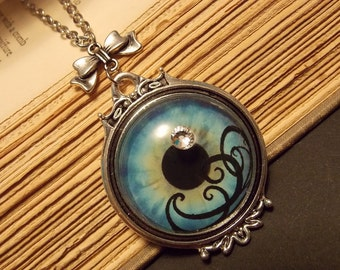 Blue and Silver Eye Necklace