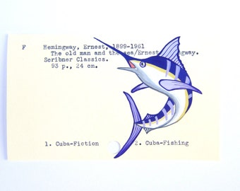 Ernest Hemingway Library Card Art - Print of my painting of a marlin