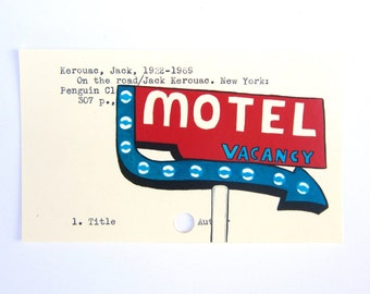 """Jack Kerouac Library Card Art - Print of my painting on card for """"On the Road"""""""