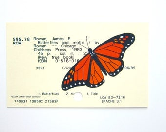 Monarch Library Card Art - Print of my painting of a monarch on library card