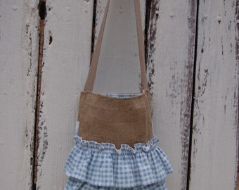 Recycled Burlap Coffee Bag Tote. Ruffled burlap coffee tote. Cottage Chic coffee bag tote. Eco friendly coffee bag tote