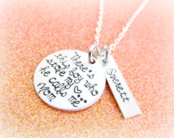 there's this boy who stole my heart he calls me mom - name tag necklace - mom necklace - mom gift - mothers gift - christmas gift 2015