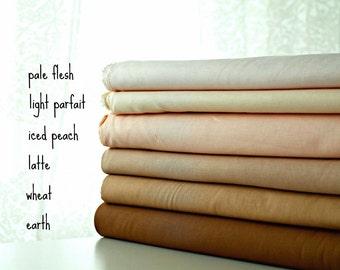 Doll skin fabric, 6 Fat Quarter bundle skin tone 100% cotton, Kona bundle, by Robert Kaufman