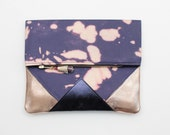 RESERVED for Amy / PARADISE 94 / Hand colored cotton & natural lather folded clutch with leather tassel - Ready to Ship