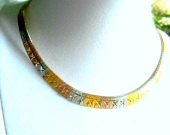 Vintage Choker Egyptian Style Tri-Color Sterling Italy 16 Inch