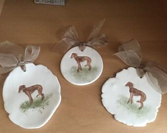 Whippet Greyhound Ceramic Ornaments