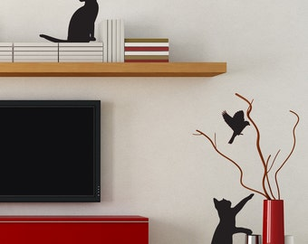 Reaching Cat and Bird - Wooden Shadow Pets