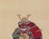 Antique Japanese Fine Art Wall Hanging Scroll Painting Samurai Armor Yoroi Kakejiku –150809