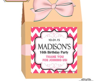 Party Favor Gift Box Labels (Personalized)  Set of 4 Hot Pink Chevron Print At Home