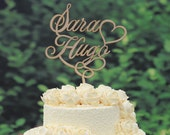 Wedding Cake Topper Monogram Linden Wood Cake Topper Design Personalized with YOUR First Names 048