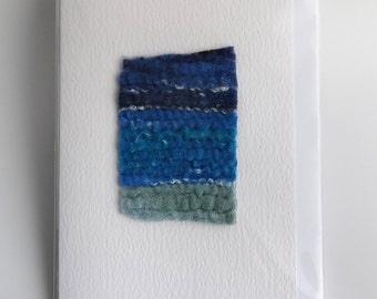 Handmade textile card, abstract seascape, greetings card, blank card, art card